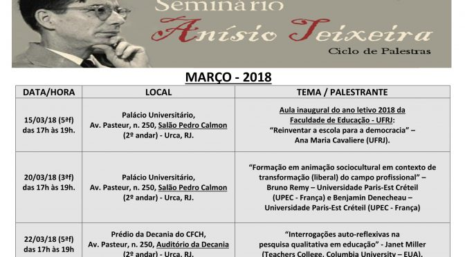 Programação de março do Seminário Anísio Teixeira