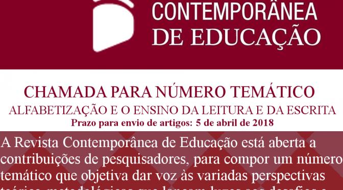 Chamada para número temático RCE: Alfabetização e o ensino da leitura e da escrita