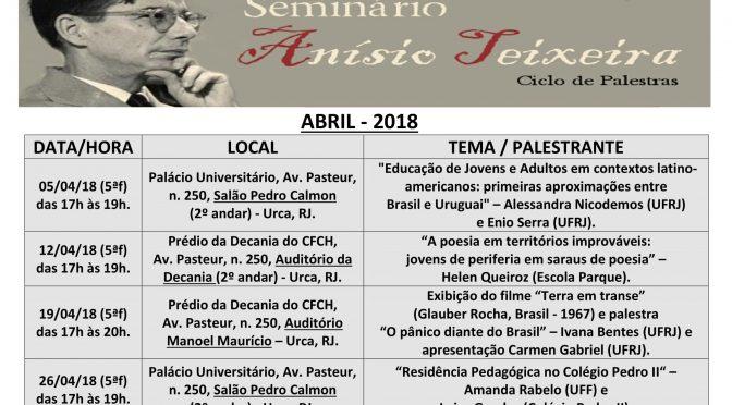Programação de abril do Seminário Anísio Teixeira