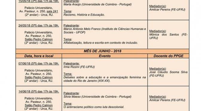 Programação de maio a junho do Seminário Anísio Teixeira