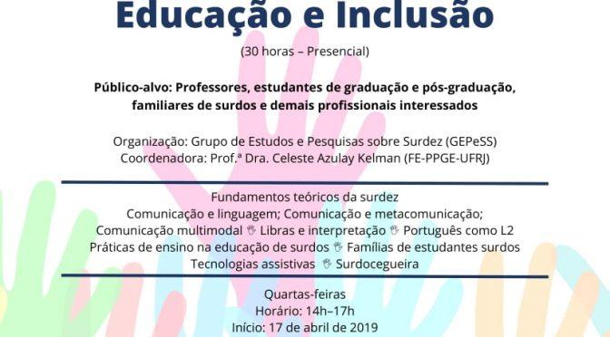 Curso de extensão Surdez: Comunicação, Educação e Inclusão