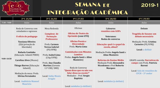 Semana de integração acadêmica 2019.1