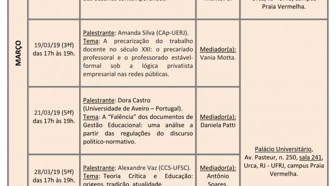 Programação de março a maio do Seminário Anísio Teixeira (SAT)