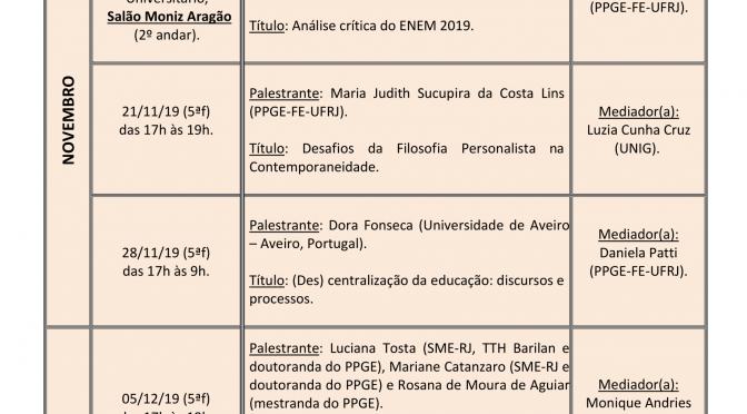Programação de novembro e dezembro do Seminário Anísio Teixeira