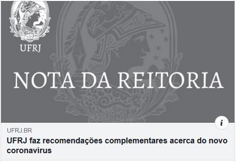 UFRJ faz recomendações complementares acerca do novo coronavírus