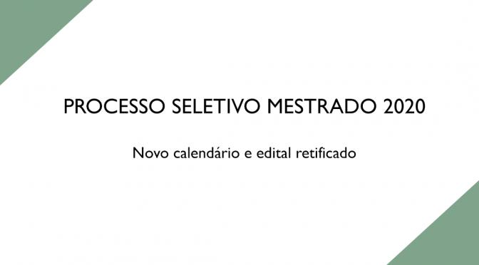 Processo seletivo Mestrado PPGE 2020