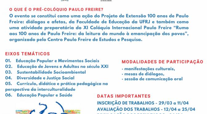 Pré-colóquio Paulo Freire – Rio de Janeiro