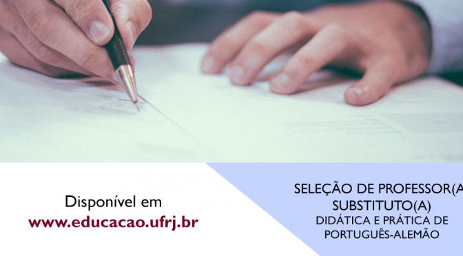 SELEÇÃO DE  PROFESSOR SUBSTITUTO –  PORTUGUÊS – ALEMÃO
